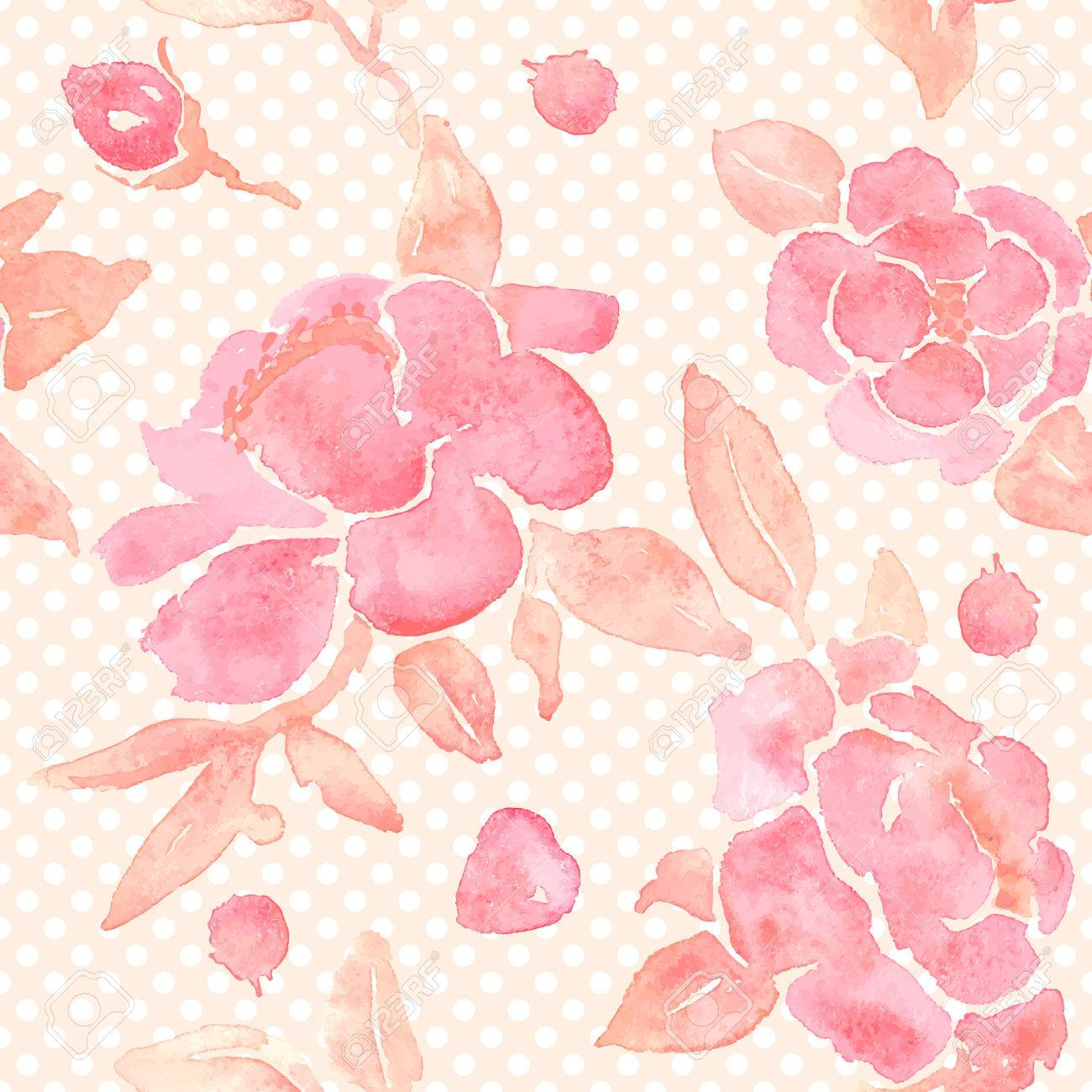 Seamless Wallpaper With Peony Flowers Watercolor Painting In