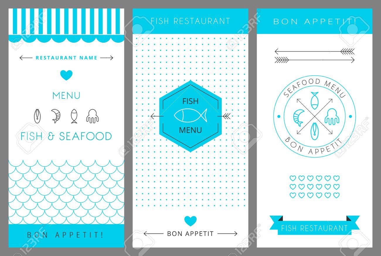 Restaurant Menu Design Template. Fish And Seafood Menu. Vector ...
