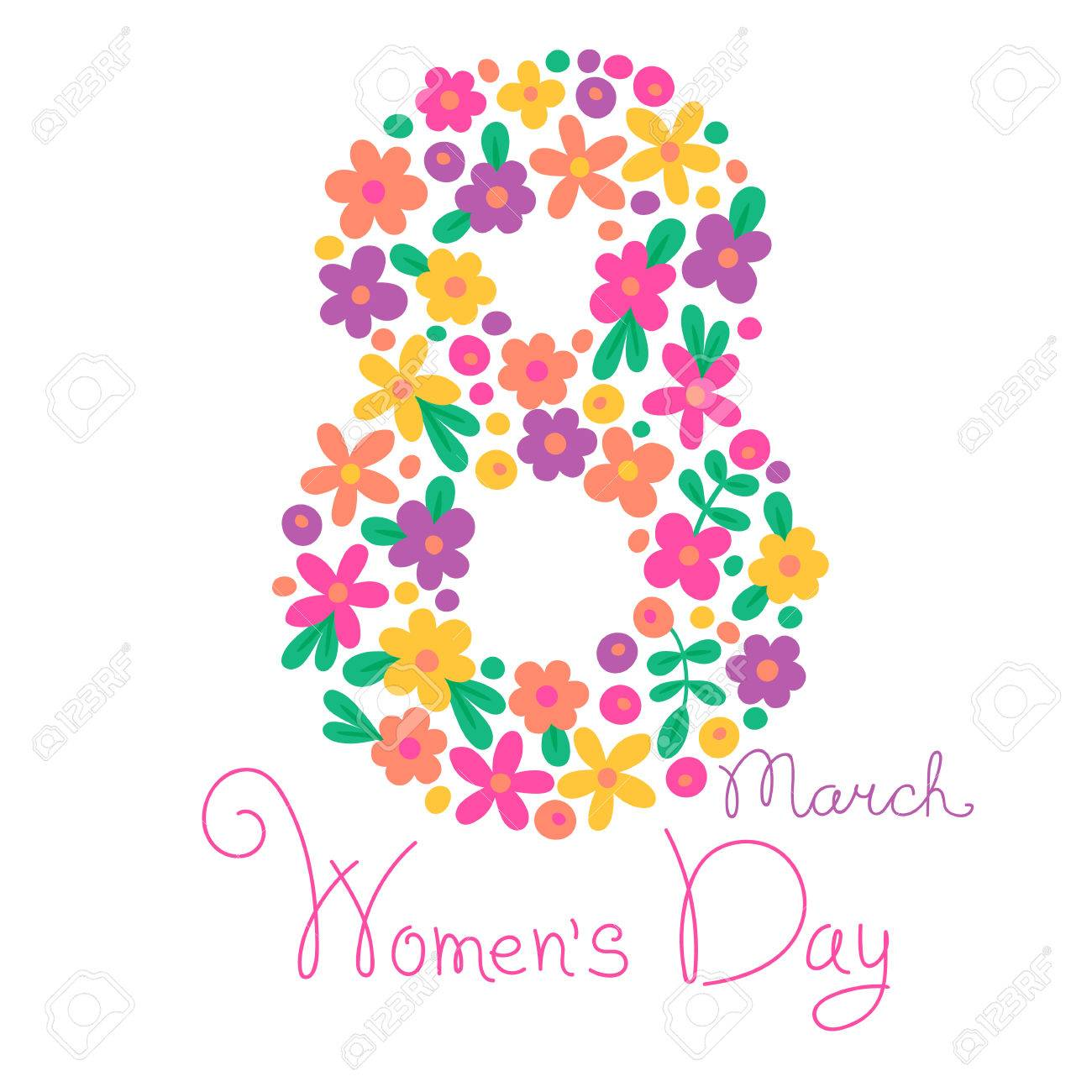 Card Womens Day on March 8. Vector illustration. - 36371306