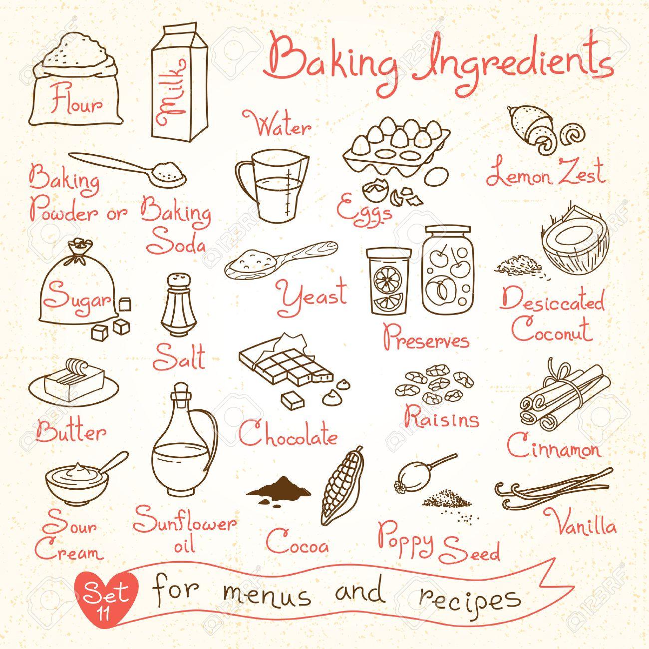 Set drawings of baking ingredients for design menus recipes. Vector Illustration. - 41790512