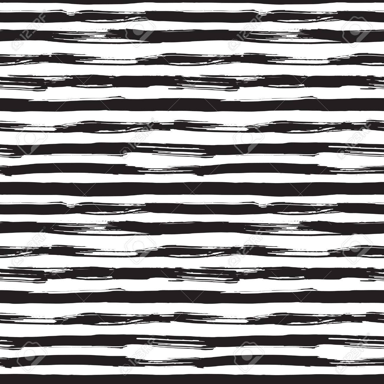 Vector seamless pattern with black brush strokes. Monochrome hand drawn texture. Modern graphic design made with ink. - 42286775