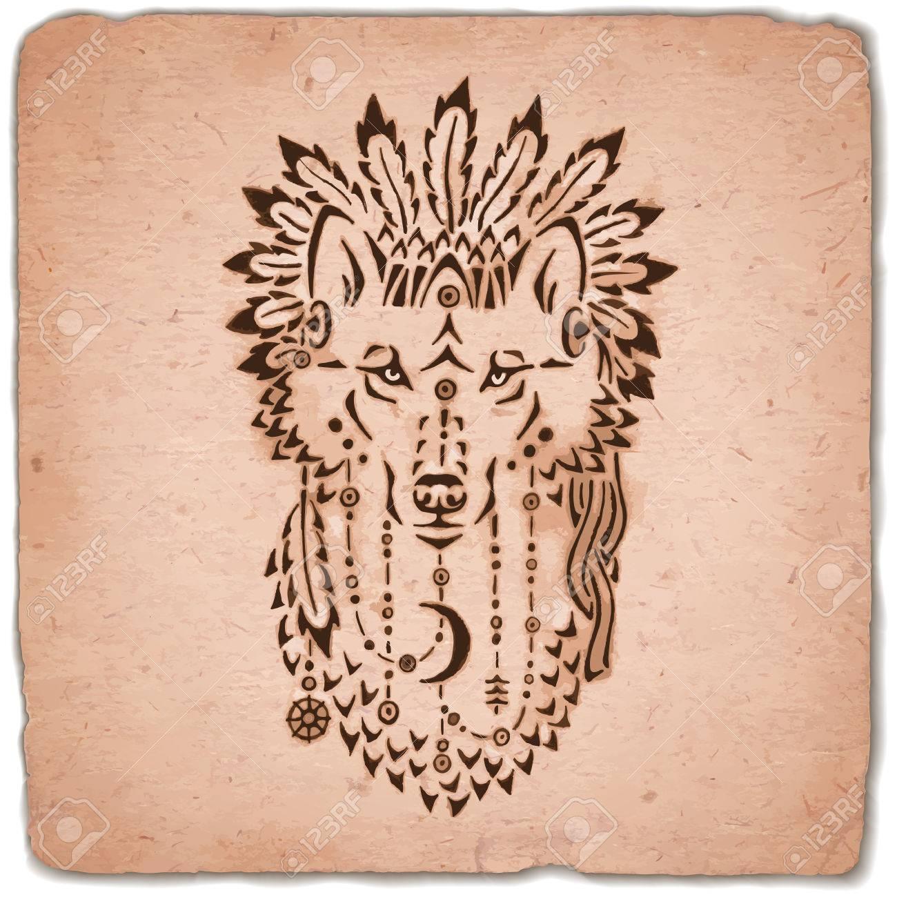 狼ウォー ボンネット、手描きの動物イラスト、ネイティブ アメリカン