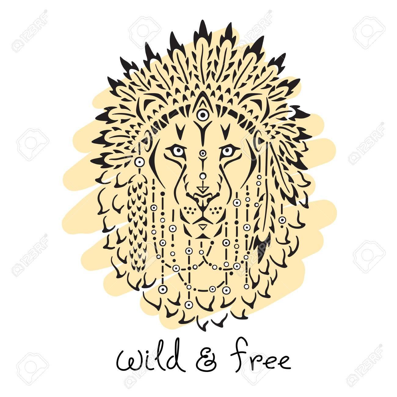 戦争のボンネット、ライオン手描き動物イラスト、ネイティブ