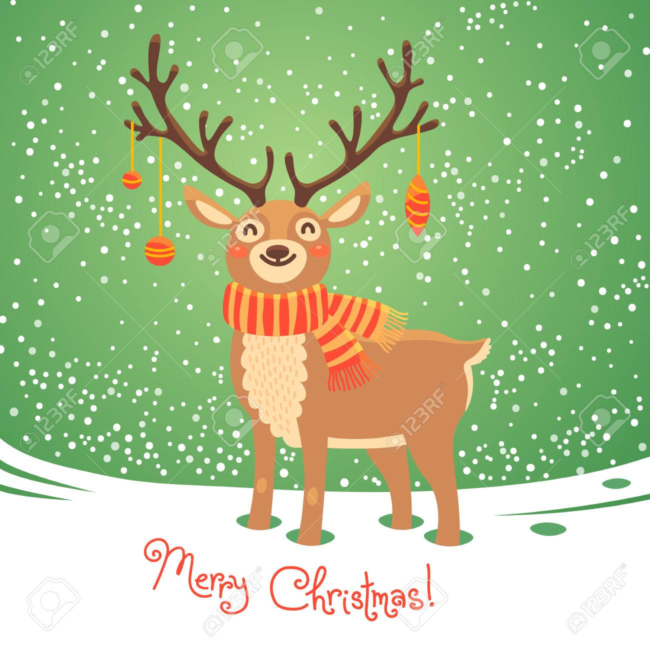 Christmas Card With Santa Reindeer Cute Cartoon Deer Scarf Merry Background