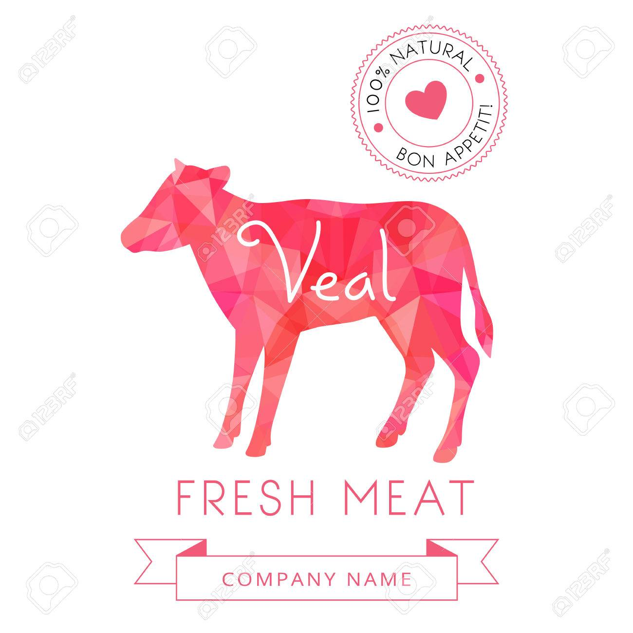 Image meat symbol veal silhouettes of animal for design menus, recipes and packages product. Vector Illustration. - 49852810