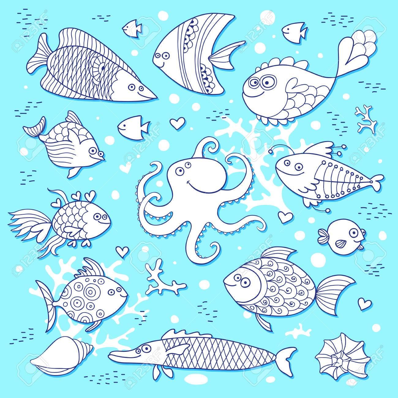 Set Nette Fische Und Krake Für Die Gestaltung Von Kinder Färbung ...