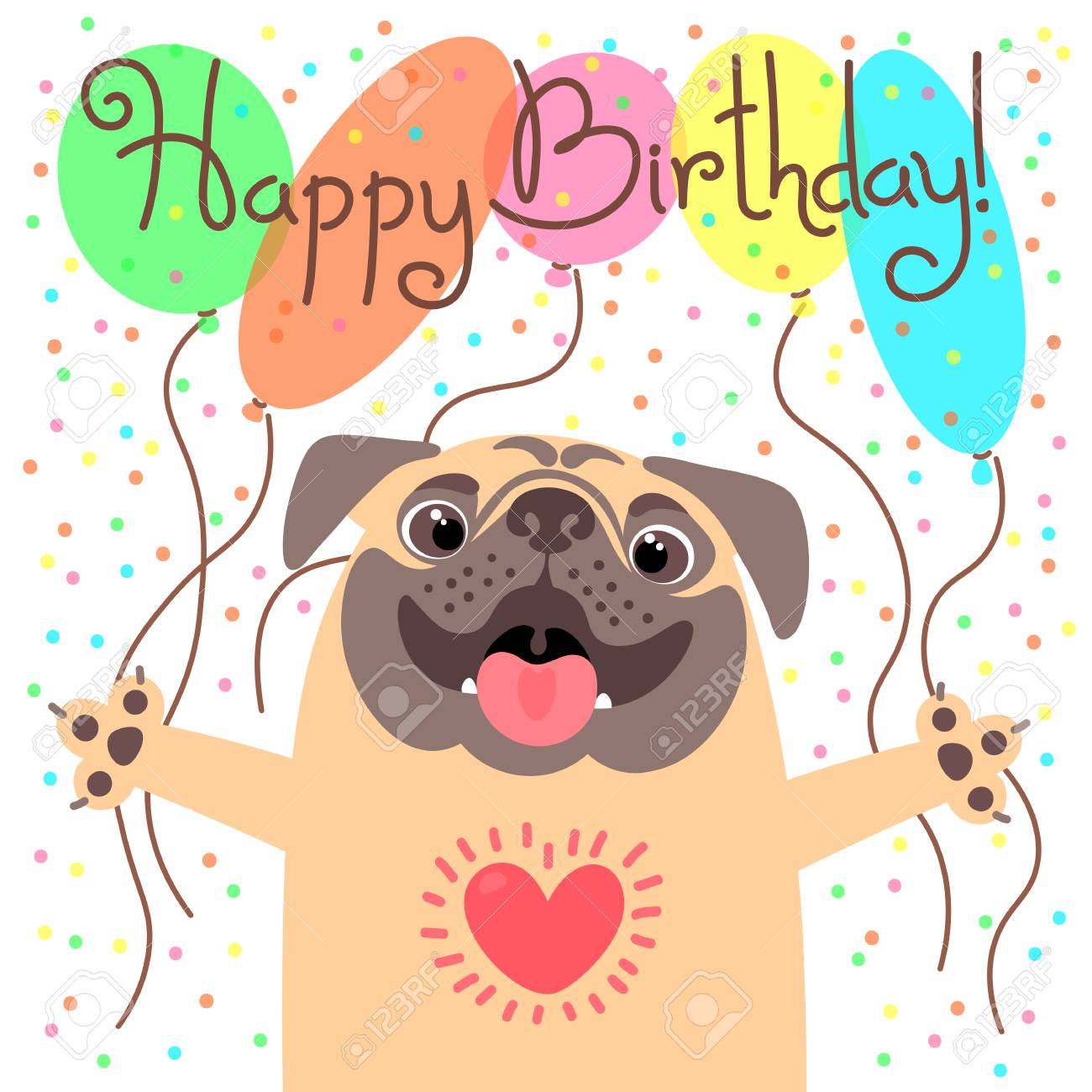 Pleasant Cute Happy Birthday Card With Funny Puppy Royalty Free Cliparts Funny Birthday Cards Online Overcheapnameinfo