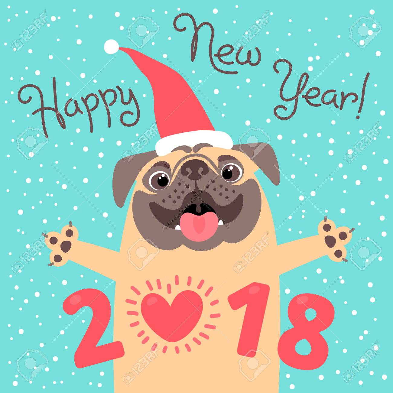 happy 2018 new year card funny pug congratulates on holiday dog chinese zodiac symbol
