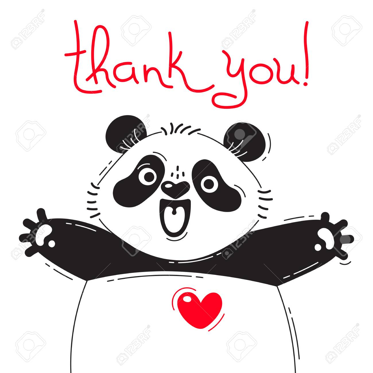 Illustration with joyful panda who says - thank you. For design of funny avatars, posters and cards. Cute animal. - 86736772