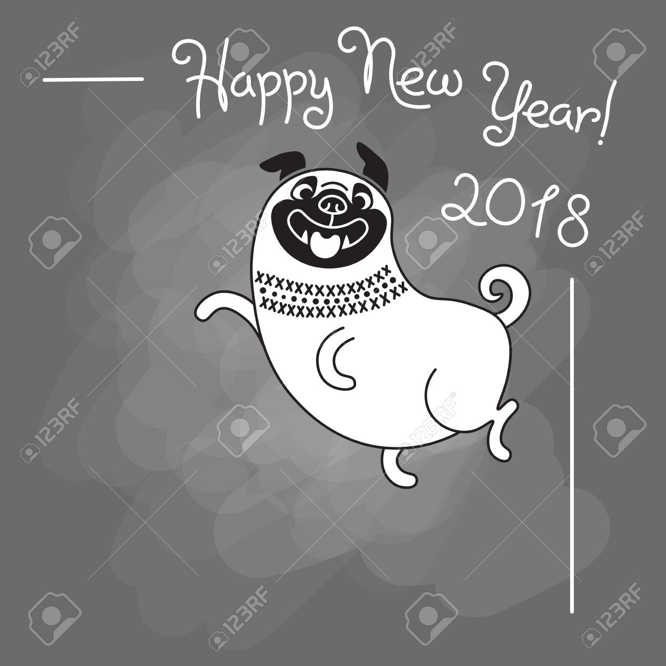 Happy 2018 New Year Card Funny Pug On Gray Background Dog Chinese