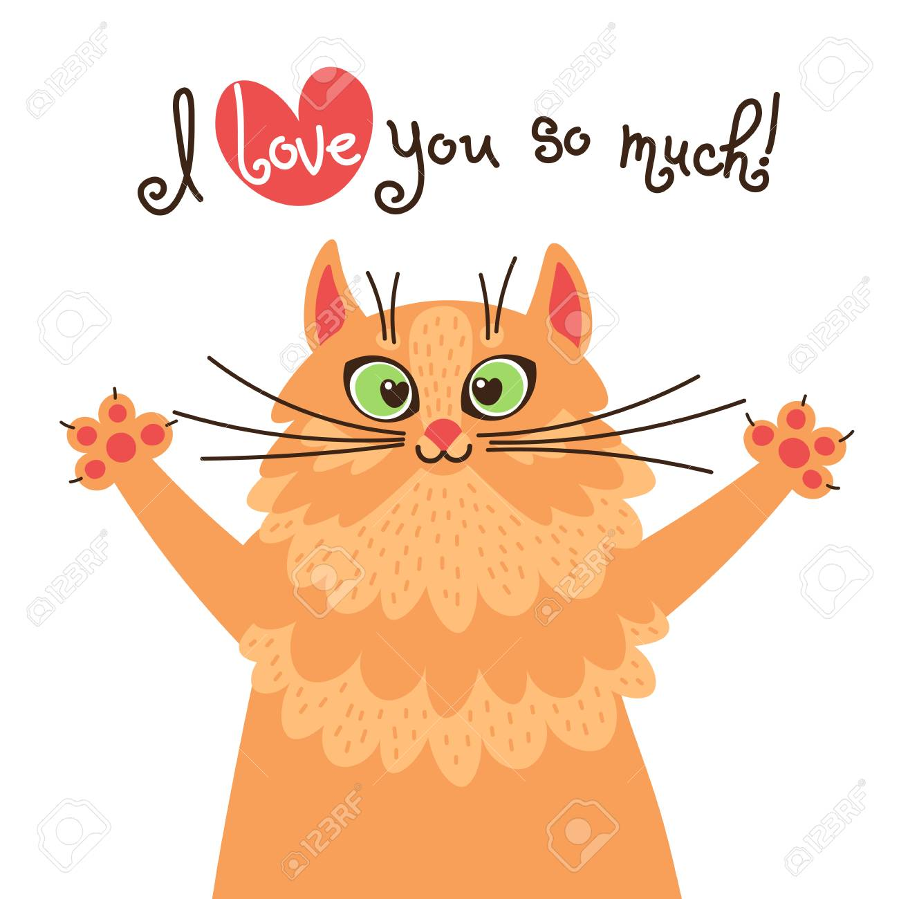 A red cat loves you. Card with sweet ginger kitten who confesses in love. Vector illustration - 104221441