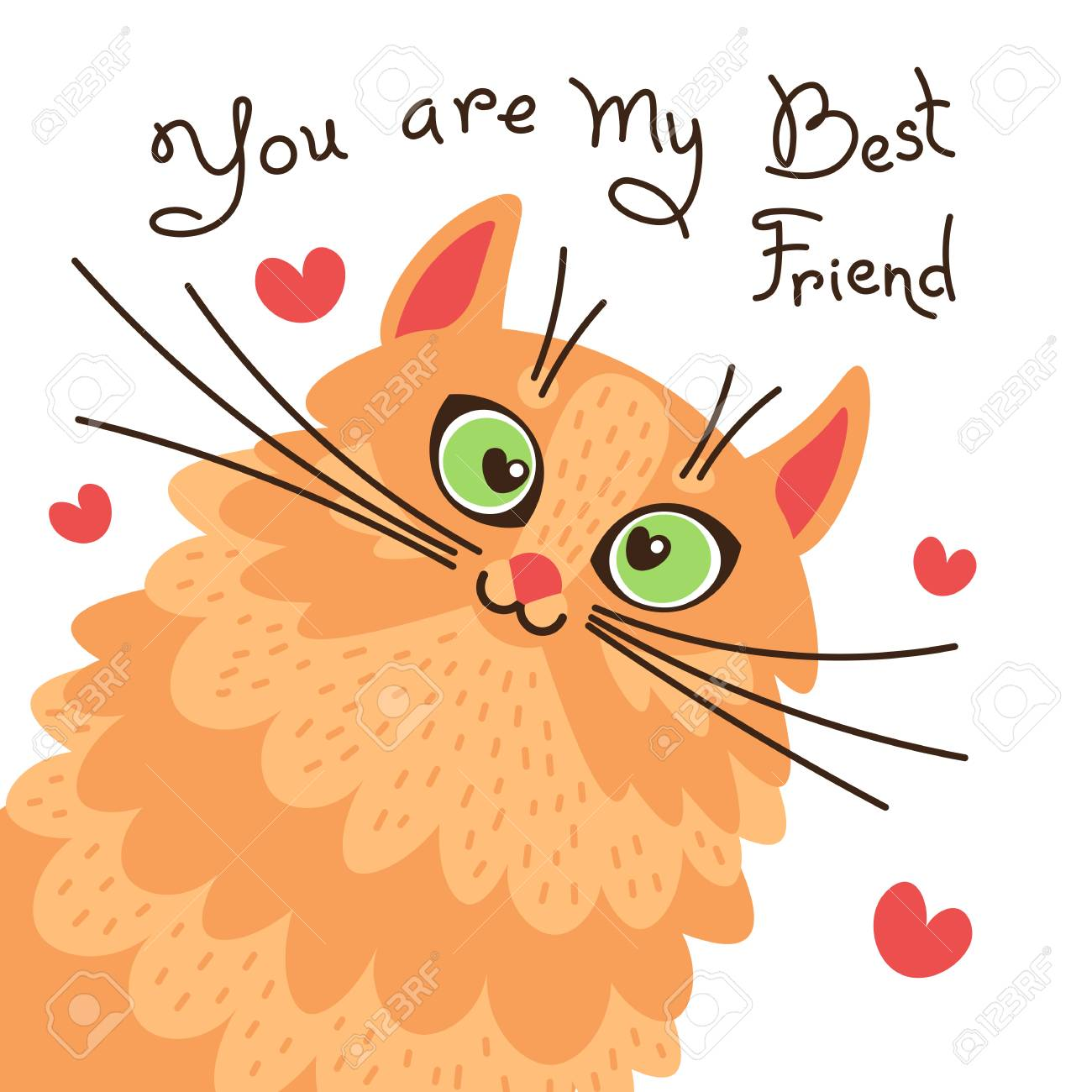 Red cat you are my best friend. Card with sweet ginger kitten. Vector illustration - 104221442