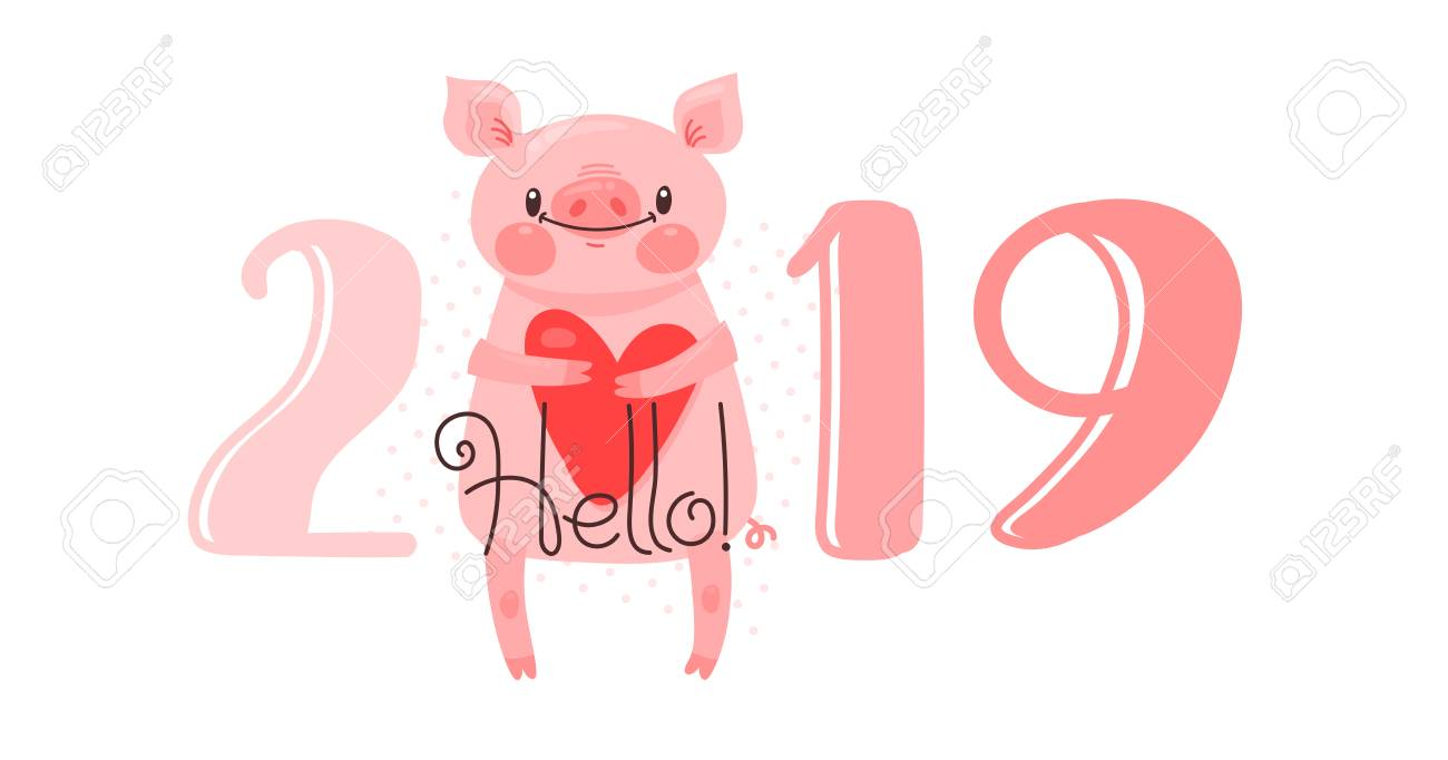 2019 happy new year card design vector illustration with 2019 numbers and sweet pig greets