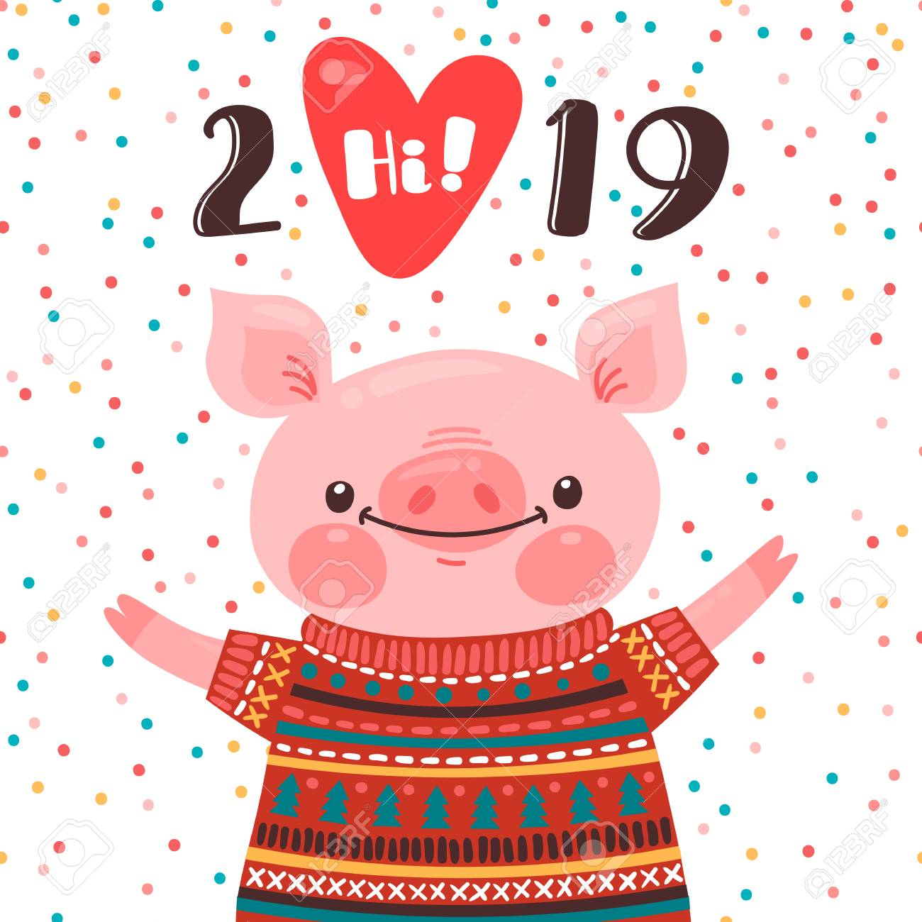 Calendario Vector 2019.2019 Happy New Year Card Design Symbol Of The Chinese Calendar