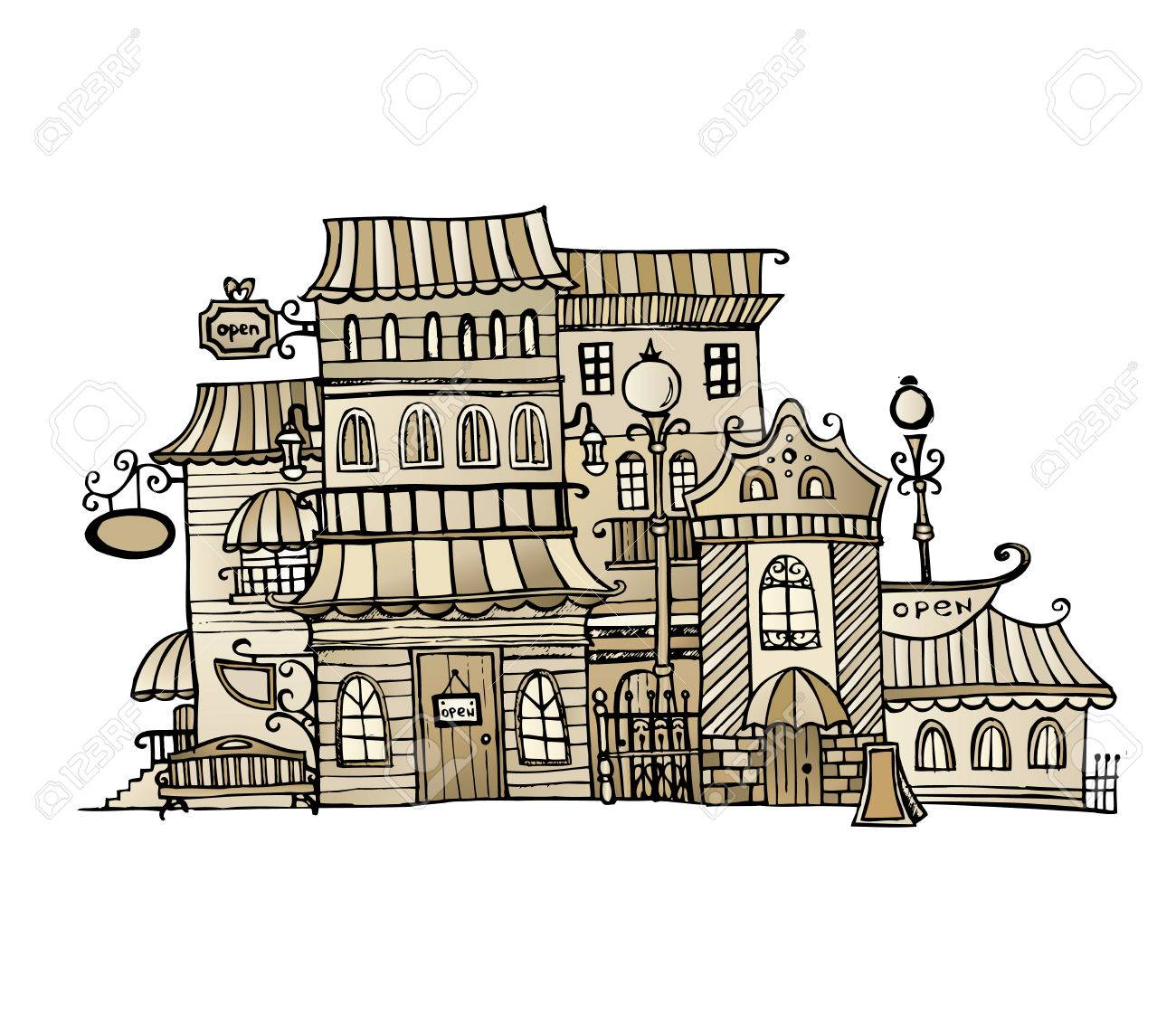 cartoon sketch vector fairy tale drawing houses royalty free