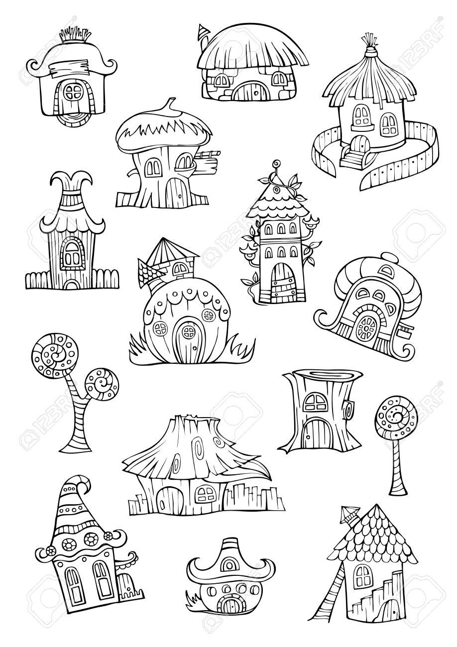 cartoon vector fairy tale drawing houses series separate lodge