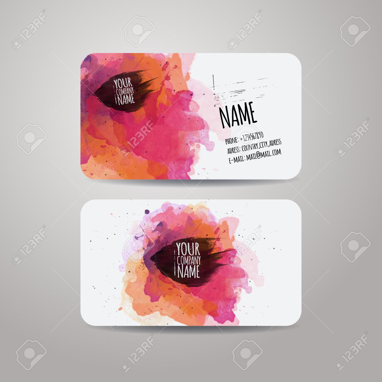 Vector Template Business Cards With Watercolor Paint Abstract ...