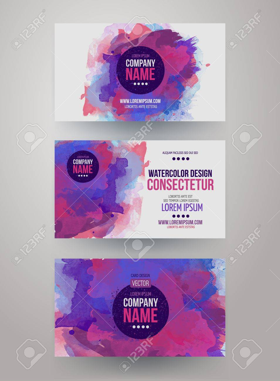 vector template watercolor business cards royalty free cliparts