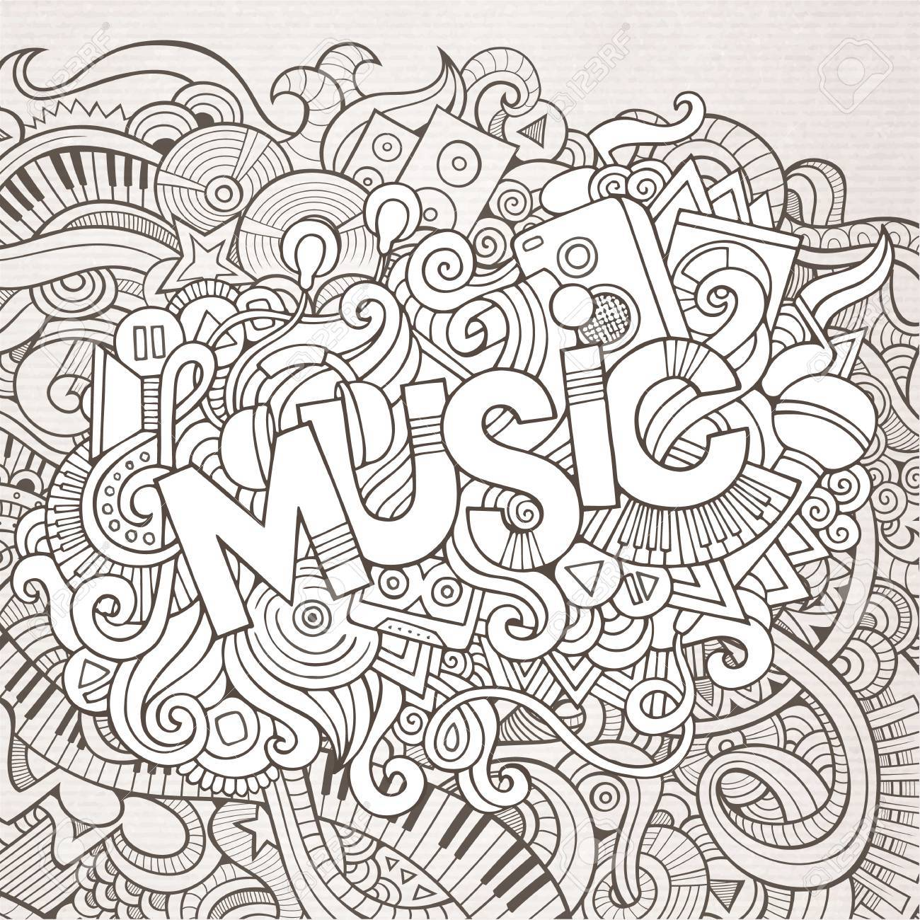 Stock vector music hand lettering and doodles elements - Music Hand Lettering And Doodles Elements Background Stock Vector 33304785