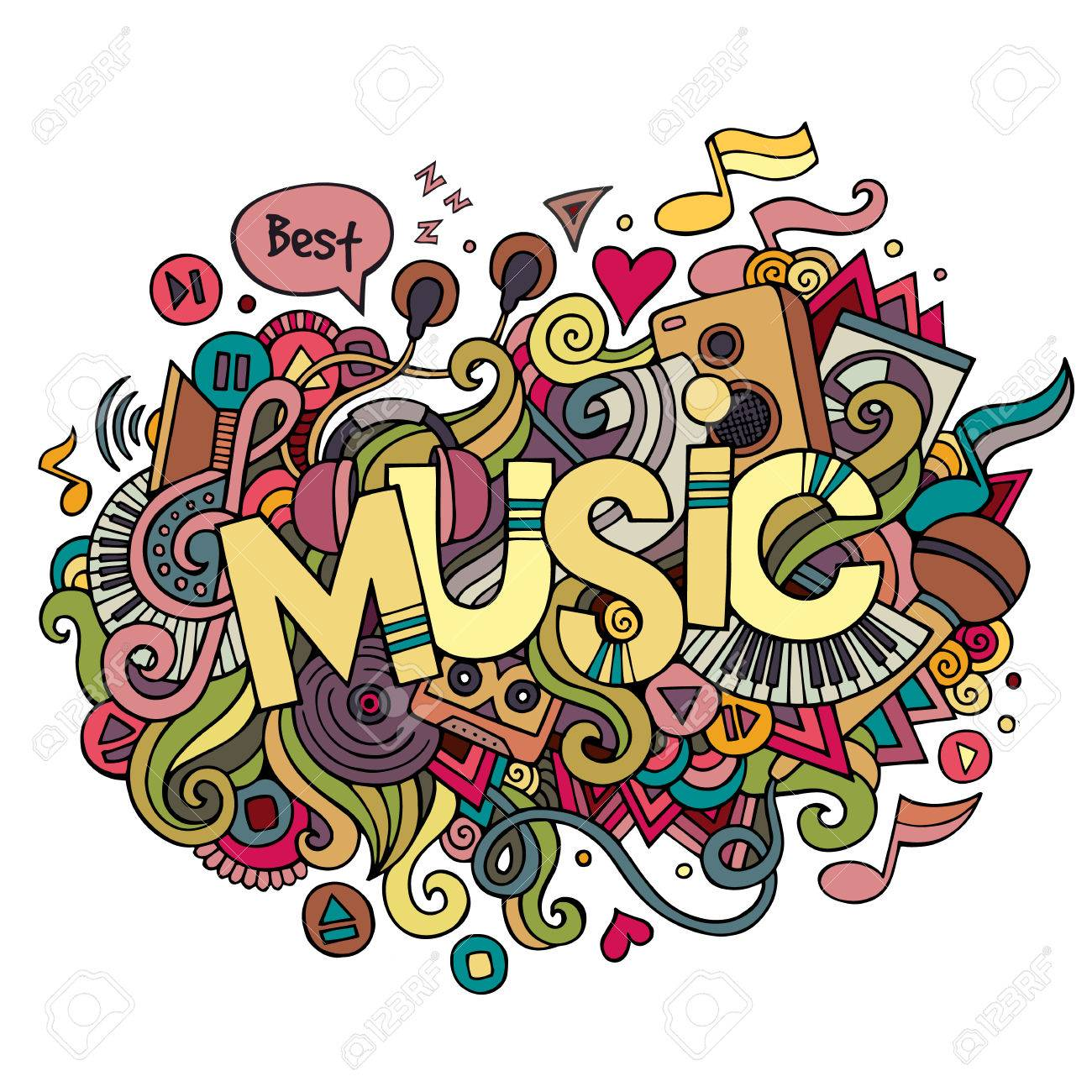 Music hand lettering and doodles elements background. Vector illustration - 37618611