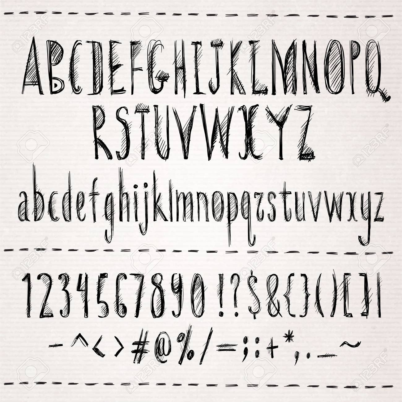 Hand drawn sketch font. Isolated in white background. Vector illustration. - 37864887