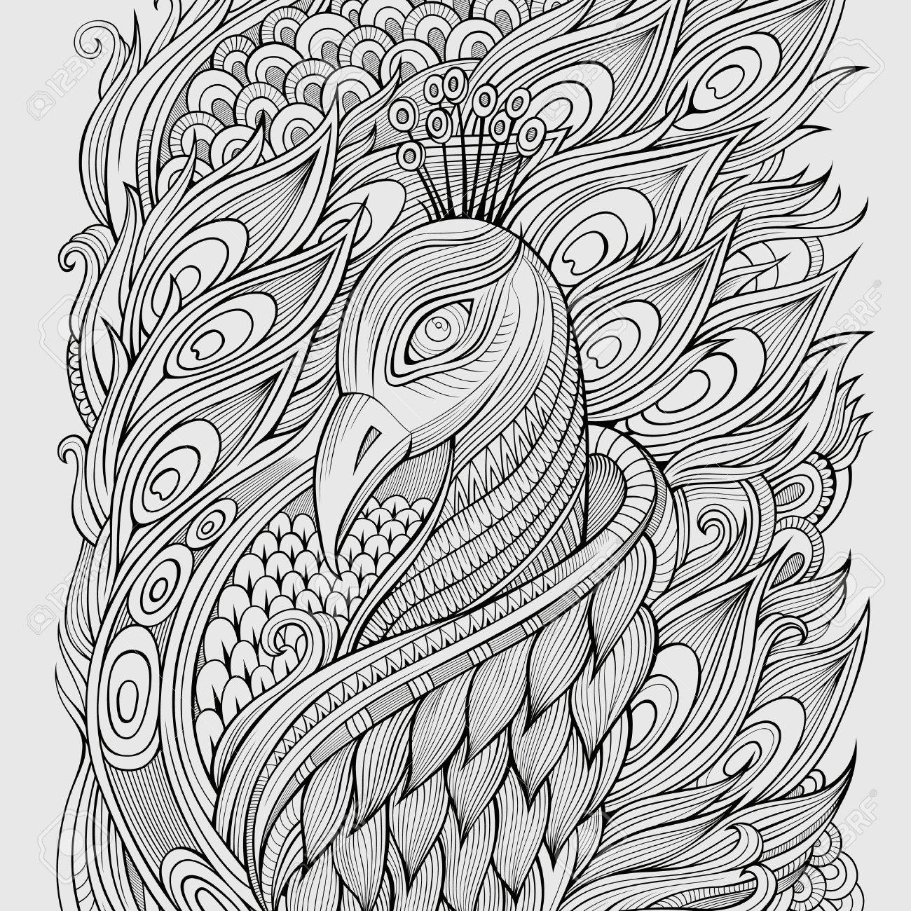 Decorative abstract ornamental peacock background. Vector illustration - 37864893