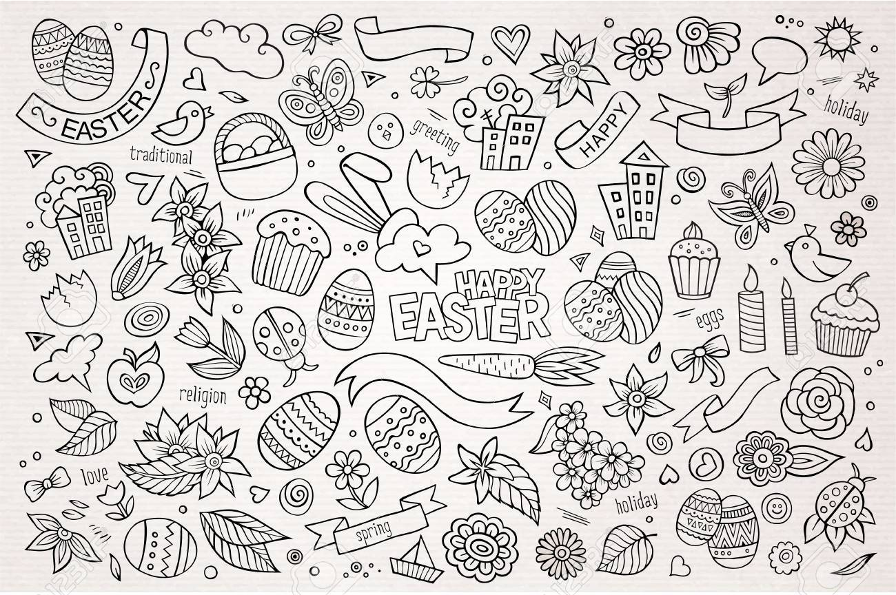 Easter hand drawn vector symbols and objects - 38197683