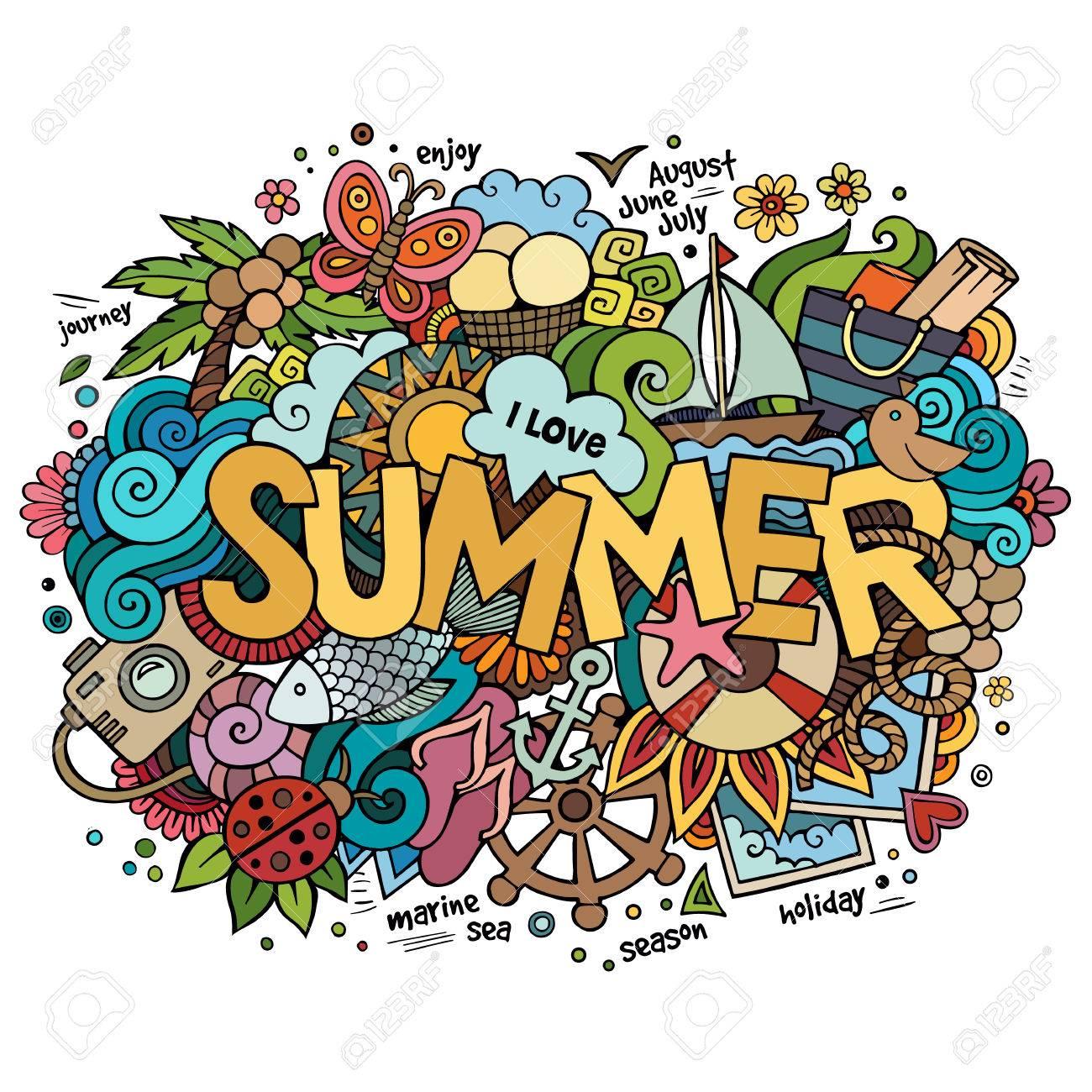 Summer hand lettering and doodles elements. Vector illustration - 40216364
