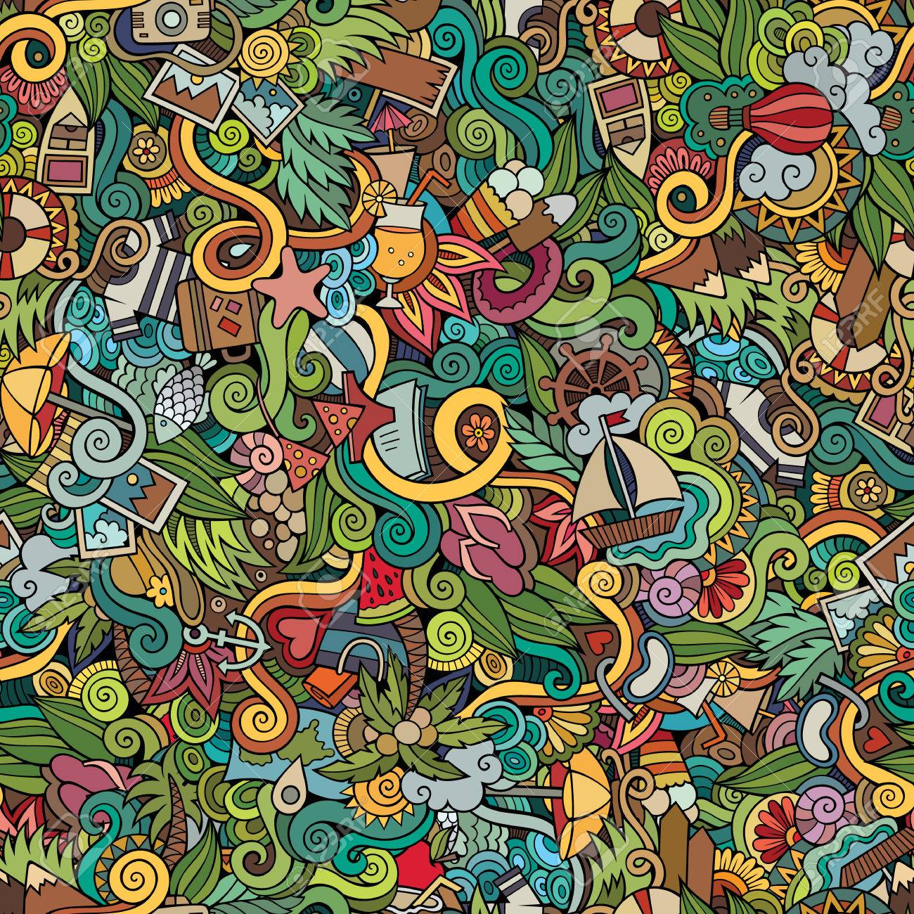 Seamless abstract pattern summer and travel background - 40124628
