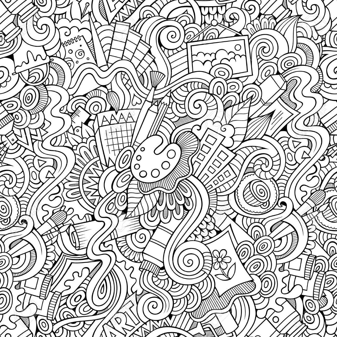 Cartoon vector doodles hand drawn art and craft seamless pattern - 40498384