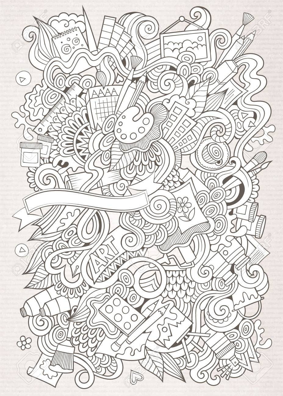 Cartoon vector sketchy doodles hand drawn art and craft background - 40498405