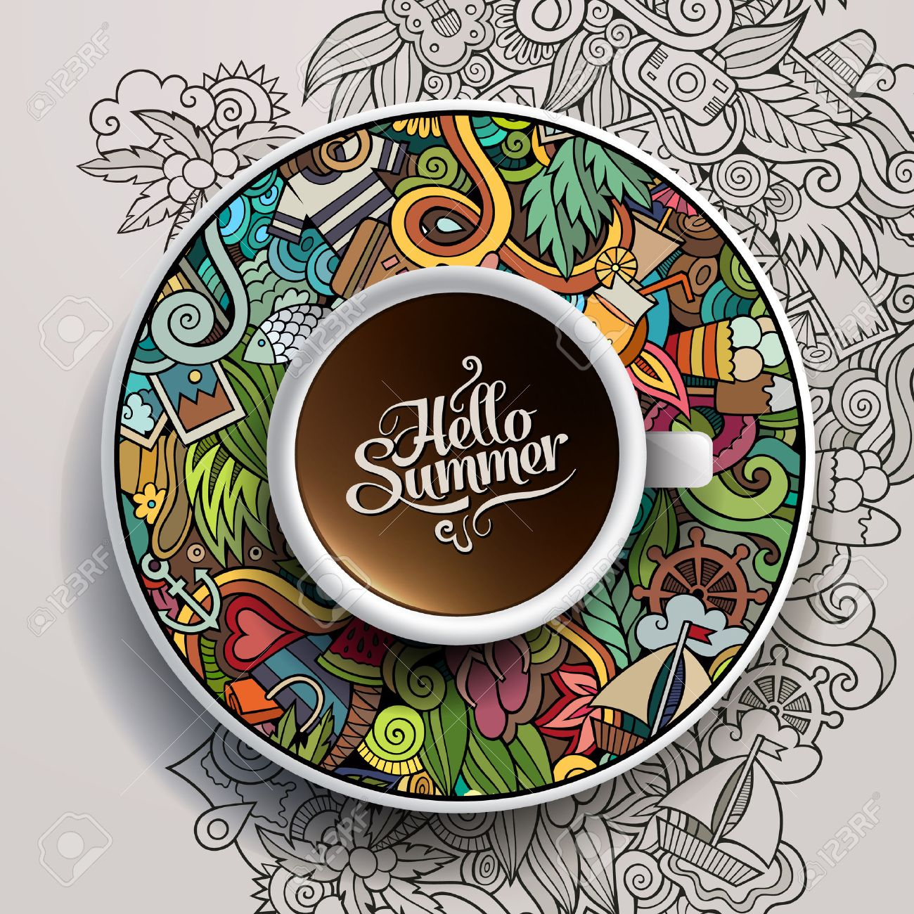 Vector illustration with a Cup of coffee and hand drawn watercolor summer doodles on a saucer and background - 40494142