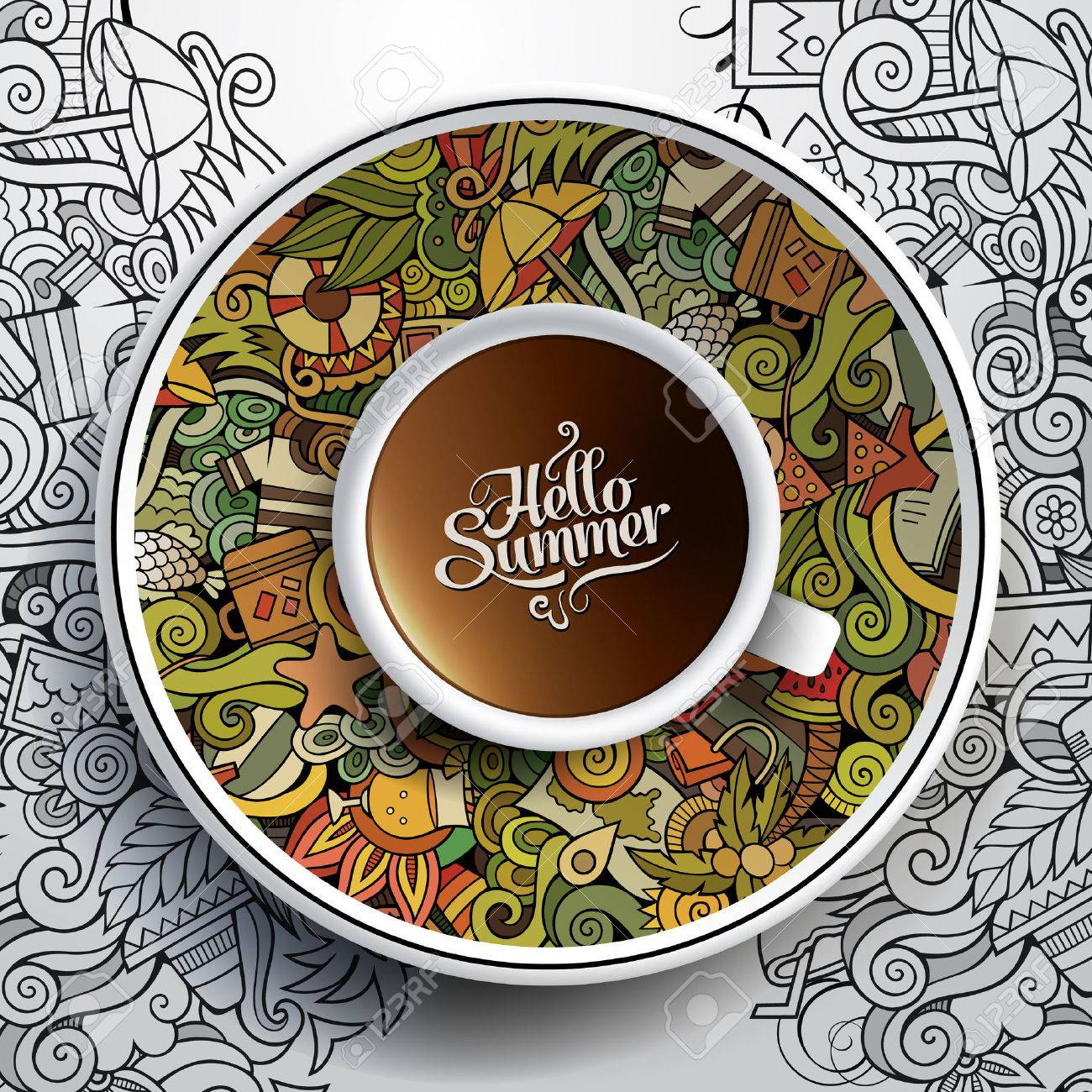 Vector illustration with a Cup of coffee and hand drawn watercolor summer doodles on a saucer and background - 40908341