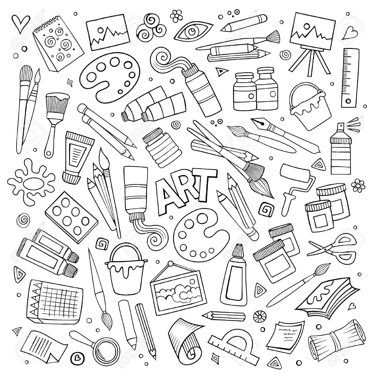 Art and craft hand drawn vector symbols and objects - 40908897
