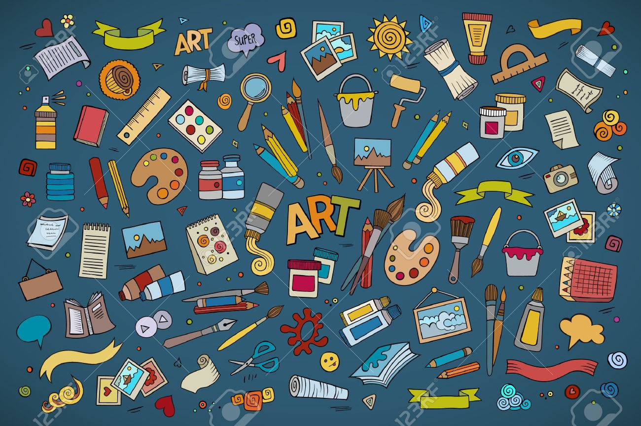 Art and craft hand drawn vector symbols and objects - 40908898