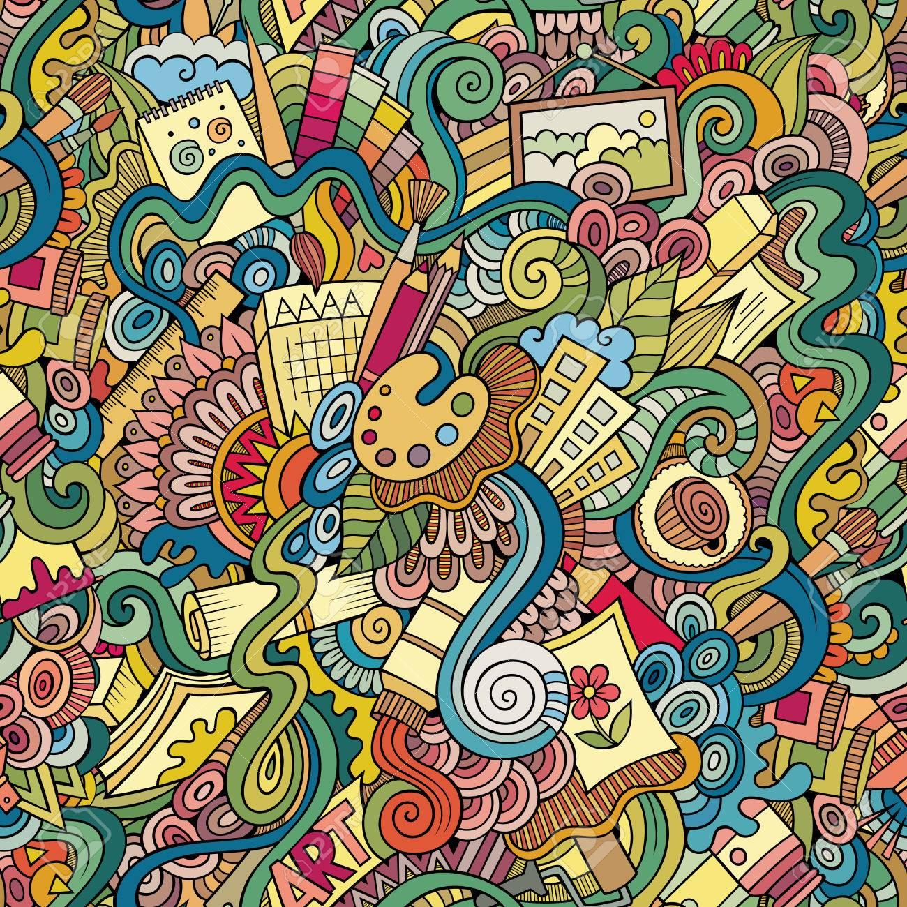 Cartoon vector doodles hand drawn art and craft seamless pattern - 40913776