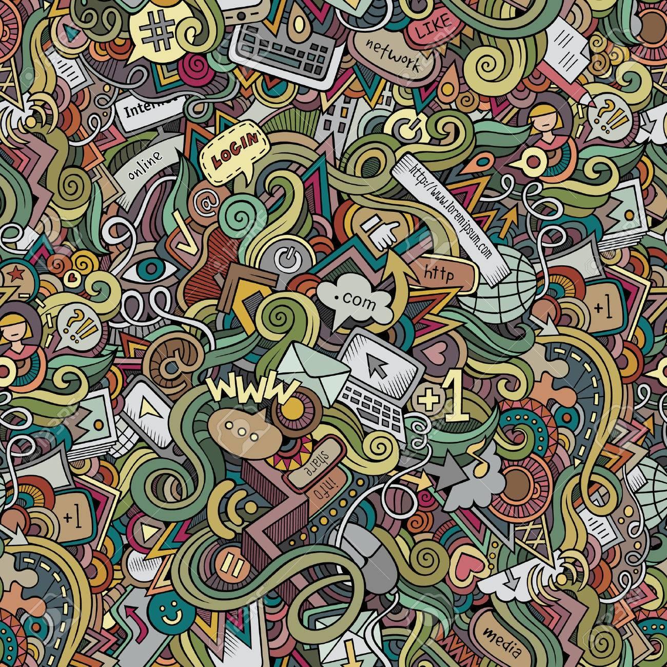 Cartoon vector doodles hand drawn internet social media seamless pattern - 41389374