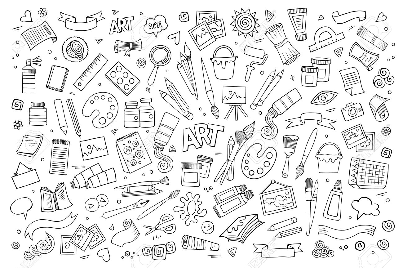 Art and craft hand drawn vector symbols and objects - 41388905