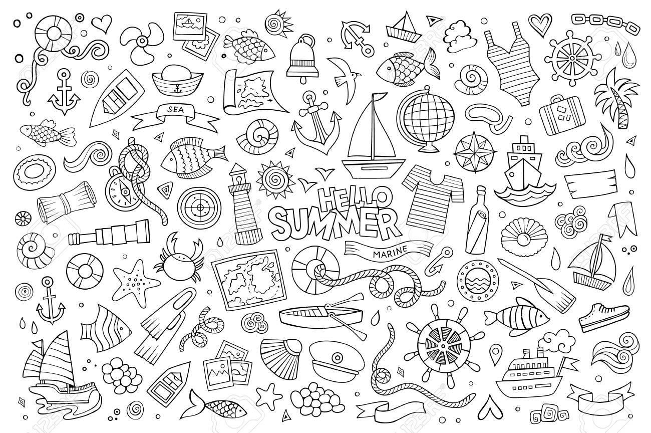 Marine nautical hand drawn vector symbols and objects - 41388916