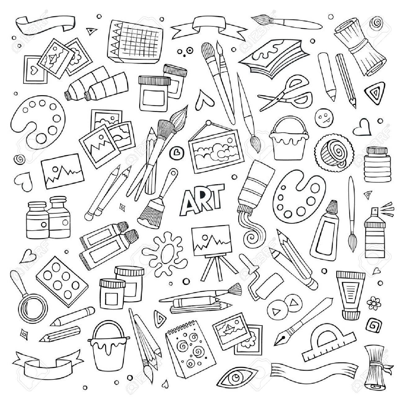 Art and craft hand drawn vector symbols and objects - 41389180