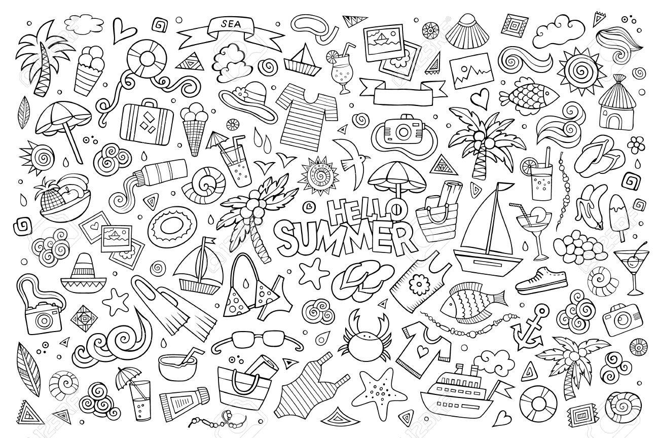 Summer beach hand drawn vector symbols and objects - 41389257