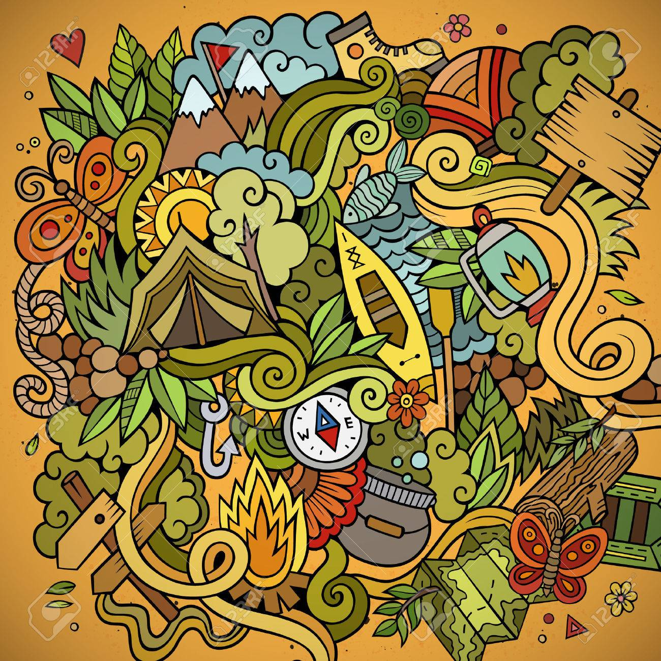Cartoon vector doodles hand drawn camping background - 41390342