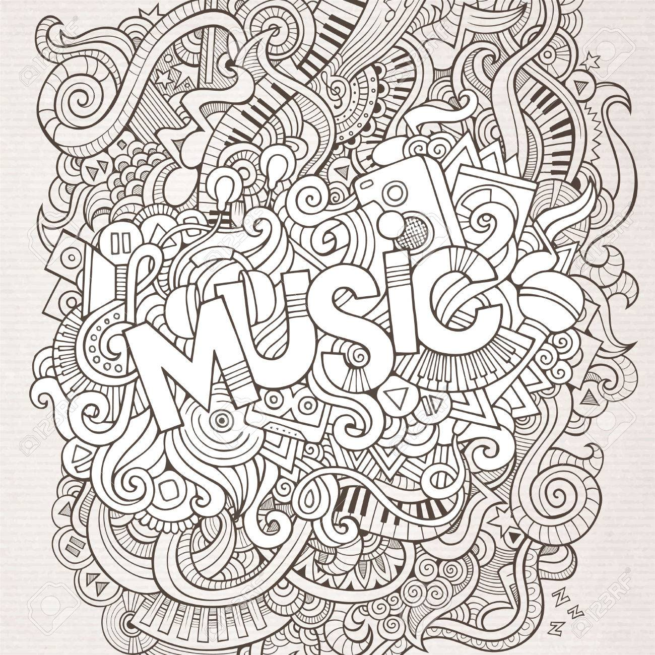 Stock vector music hand lettering and doodles elements - Music Hand Lettering And Doodles Elements Background Vector Illustration Stock Vector 41390354