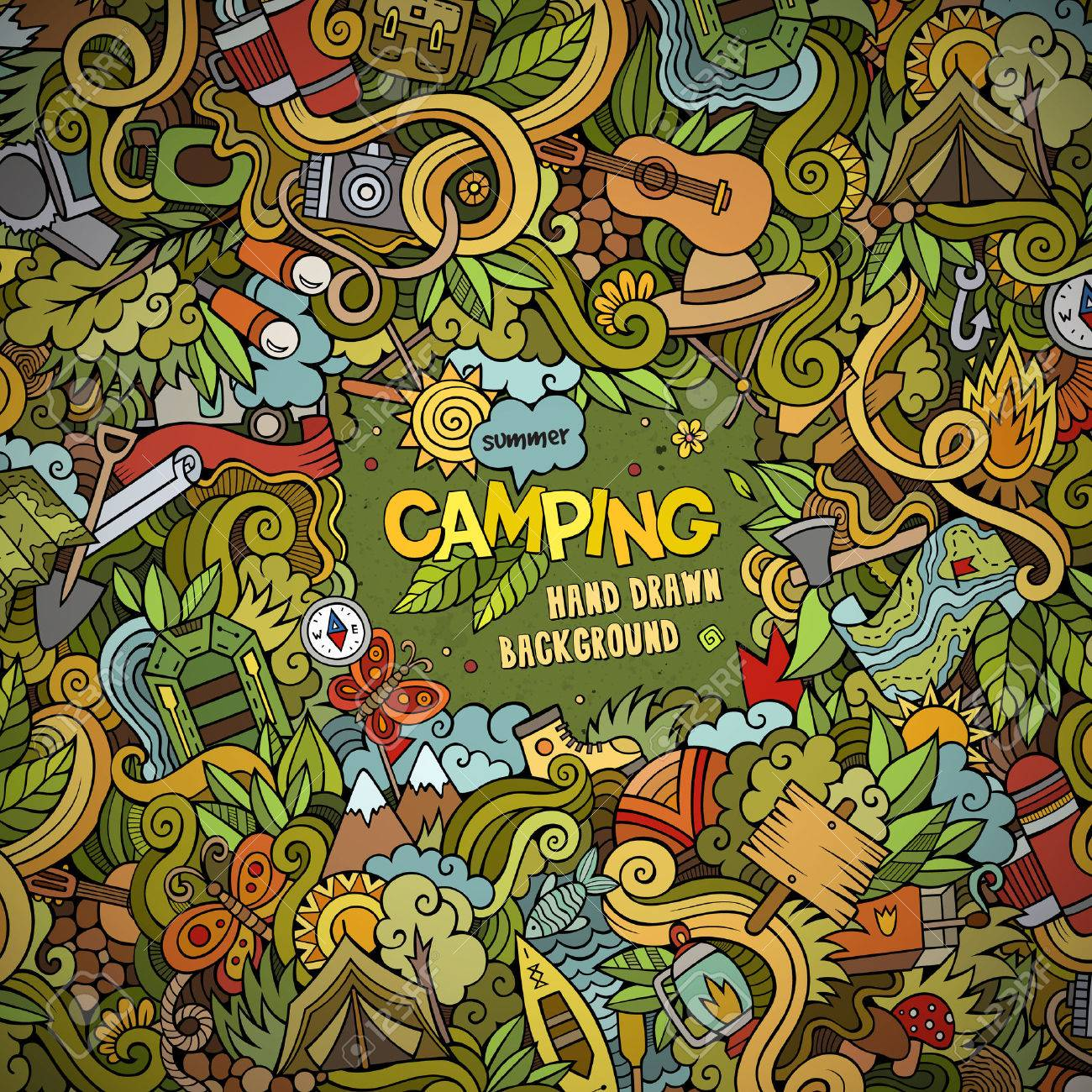 Cartoon vector doodles hand drawn Camping frame background - 41698621