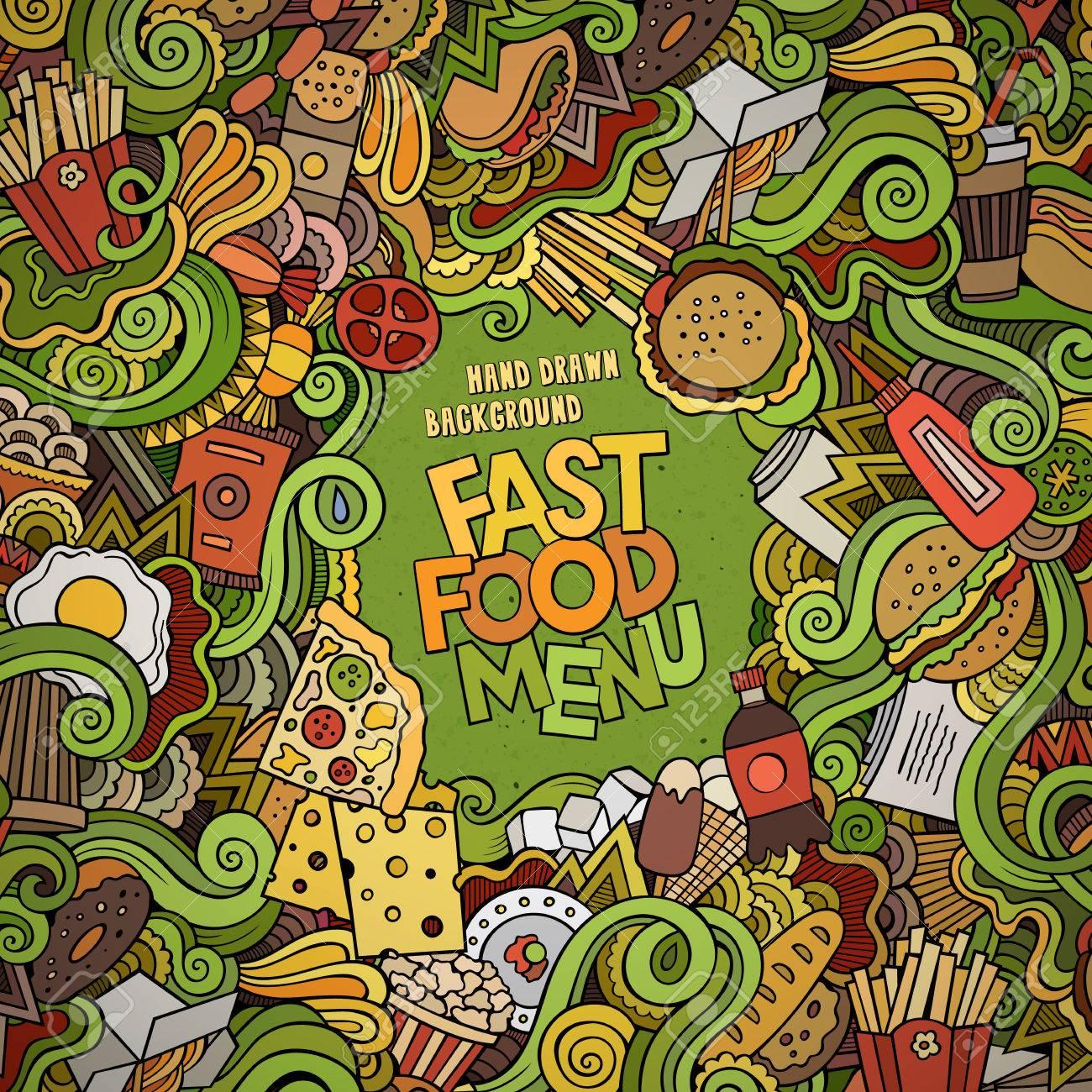 Fast food doodles elements frame background. Vector illustration - 41674297