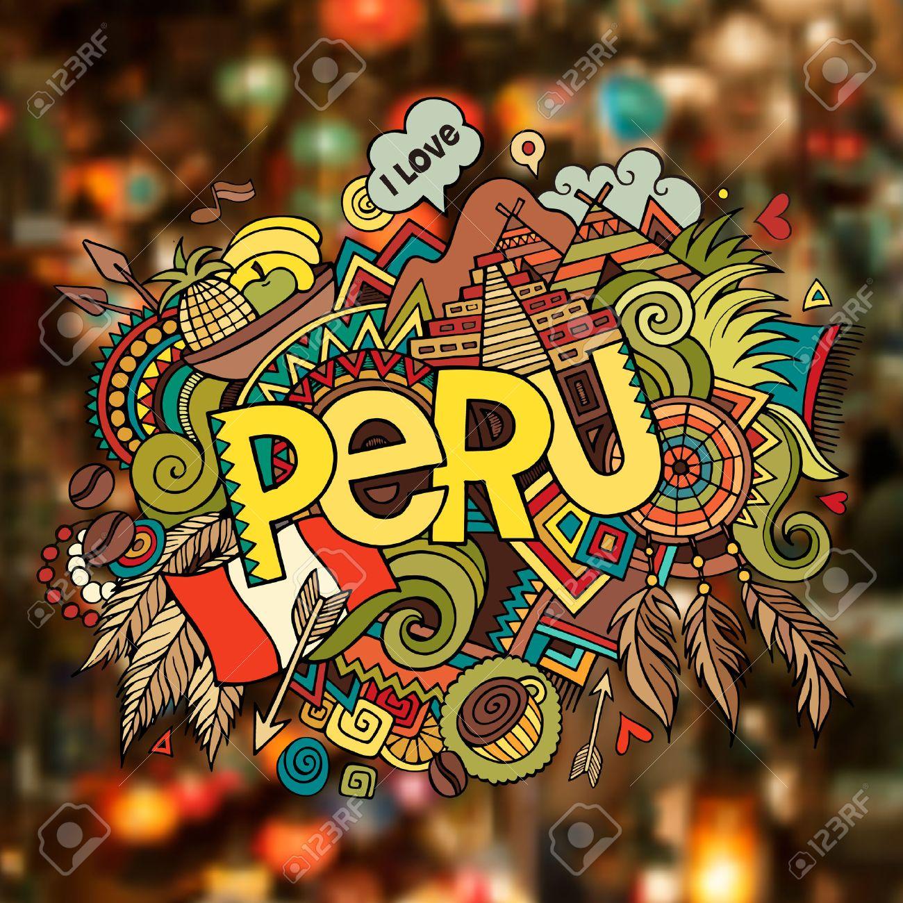 Peru hand lettering and doodles elements background. Vector illustration - 41699347