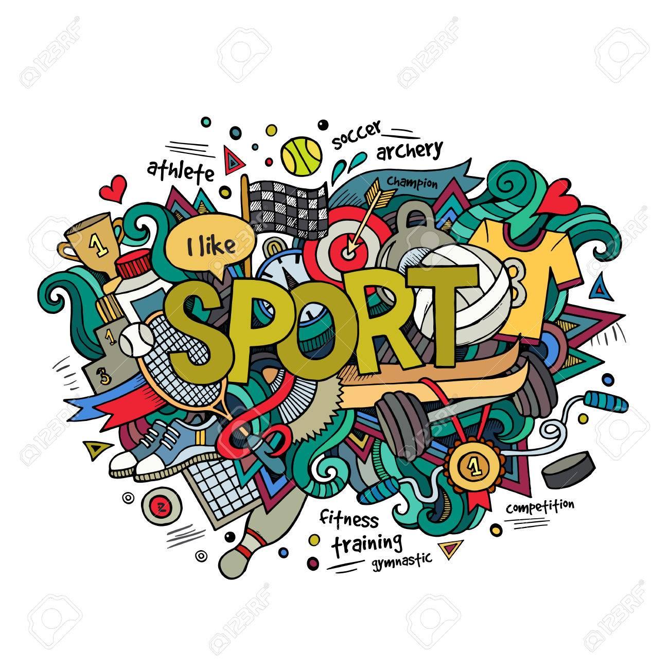 Sport hand lettering and doodles elements background. Vector illustration - 41699359