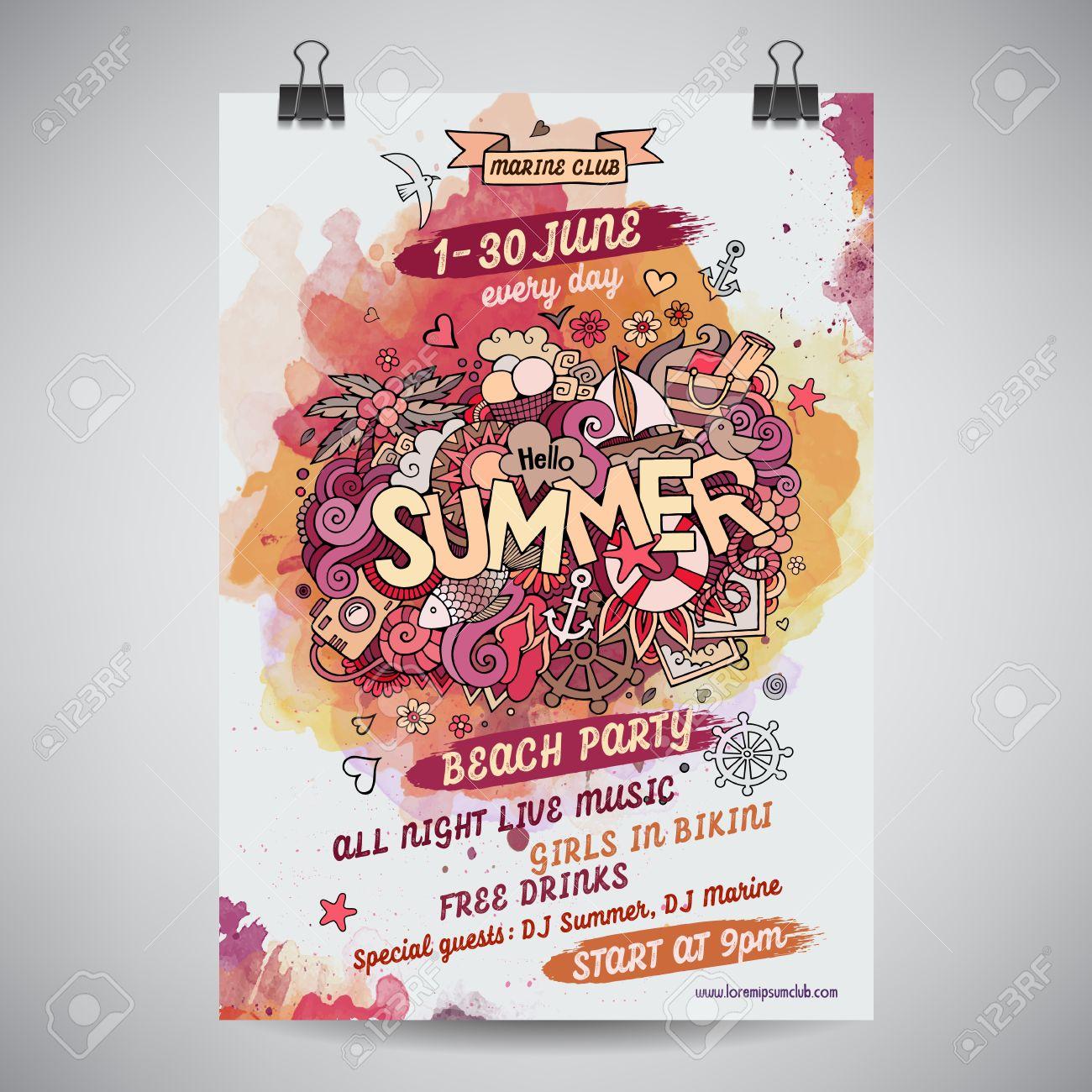Vector summer doodles watercolor paint party poster design - 41699618