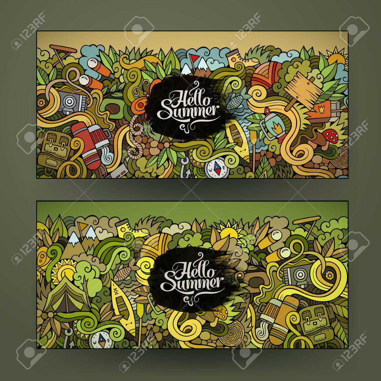 Vector banner templates set with doodles camping theme - 41825385