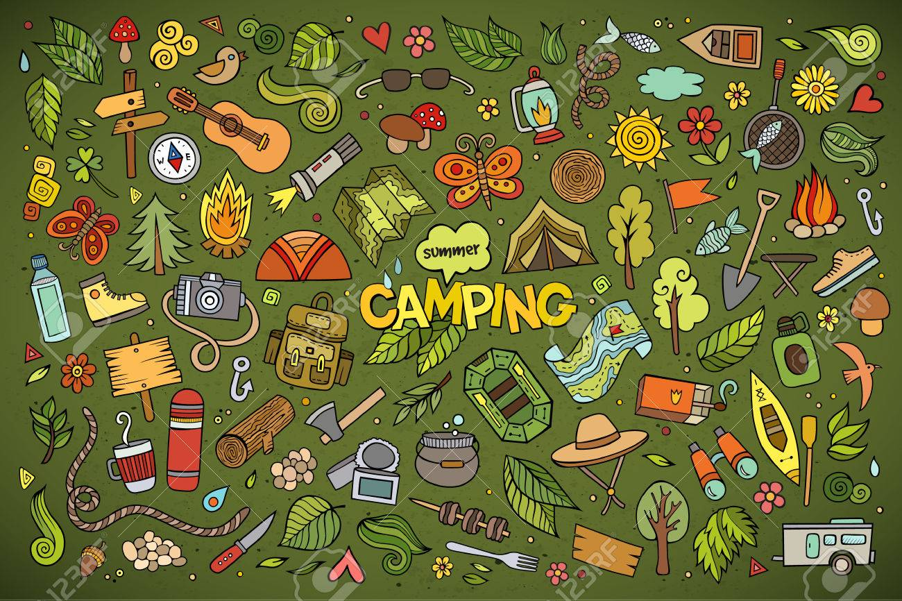 Camping nature hand drawn vector symbols and objects - 41825395